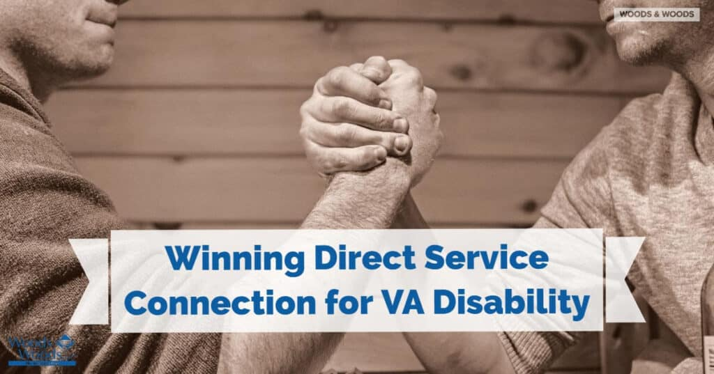 "two men arm wrestling with title ""winning direct service connection for VA disability"" in front."